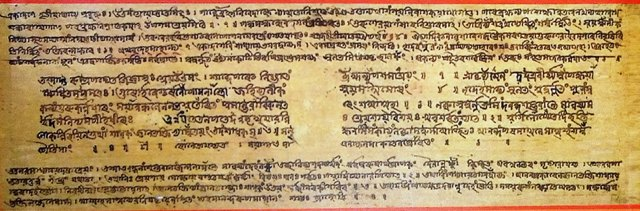 An image of a manuscript copy of Sankaradeva's Bhakti Ratnakara in Sanskrit.