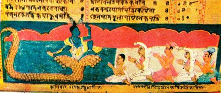 Krishna punishes Kaliya: Assamese manuscript painting.