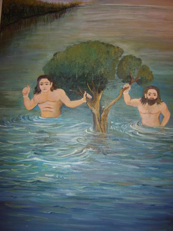 Sankaradeva happened to see a huge tree being carried away by the mighty Brahmaputra. He tells his followers - he needs to get the tree...
